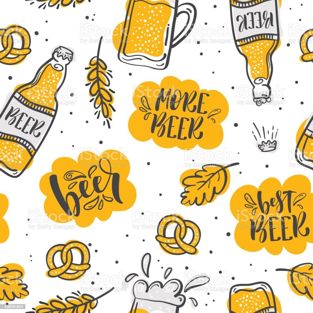 Cartoon cute hand drawn Beer seamless pattern. vector art illustration