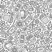 Cartoon cute hand drawn Cinema seamless pattern. Line art detailed, with lots of objects background. Endless funny vector illustration