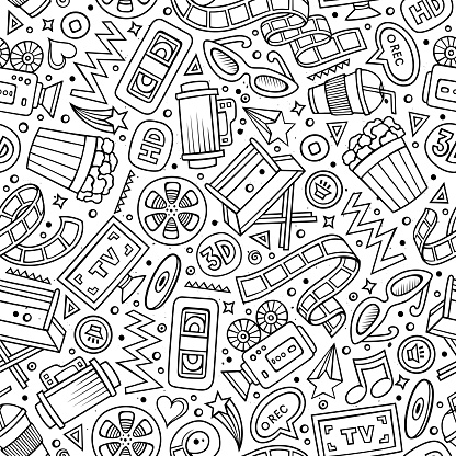 Cartoon cute hand drawn Cinema seamless pattern