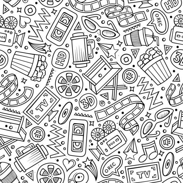 illustrazioni stock, clip art, cartoni animati e icone di tendenza di cartoon cute hand drawn cinema seamless pattern - cinema
