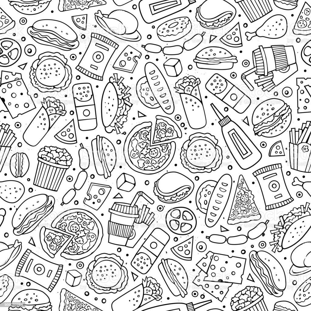 Cartoon cute hand drawn Fast food seamless pattern. vector art illustration