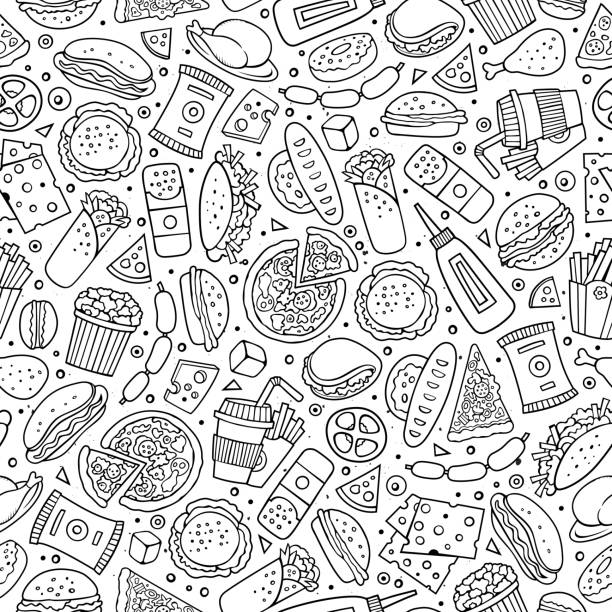stockillustraties, clipart, cartoons en iconen met cartoon schattig hand getekend fastfood naadloze patroon. - lunch