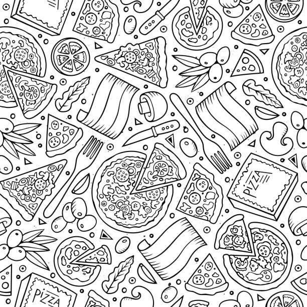 Cartoon cute hand drawn Italian food seamless pattern. Cartoon cute hand drawn Italian food seamless pattern. Line art with lots of objects background. Endless funny vector illustration. pizza stock illustrations