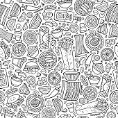 Cartoon cute hand drawn Mexican food seamless pattern. Line art detailed, with lots of objects background. Endless funny vector illustration.