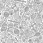 Cartoon cute hand drawn Picnic seamless pattern. Line art detailed, with lots of objects background. Endless funny vector illustration