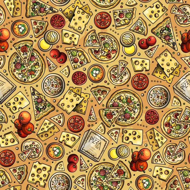 illustrations, cliparts, dessins animés et icônes de dessin animé mignon main dessiné pizza modèle sans couture. - risotto