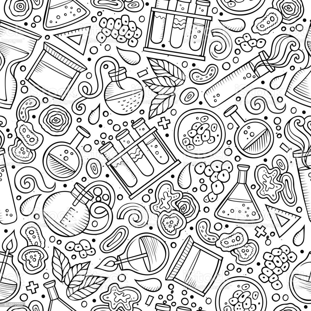 science pattern cute drawn cartoon hand seamless cell biology abstract vector illustration atom biological