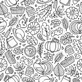 Cartoon cute hand drawn Thanksgiving seamless pattern