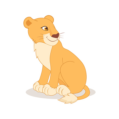 Cartoon cute happy lioness sitting on the white background.