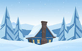 Vector illustration: Cartoon cute house on Winter christmas mountains landscape background.