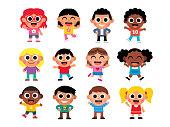 Vector Cartoon Set Of Cute Kids Isolated