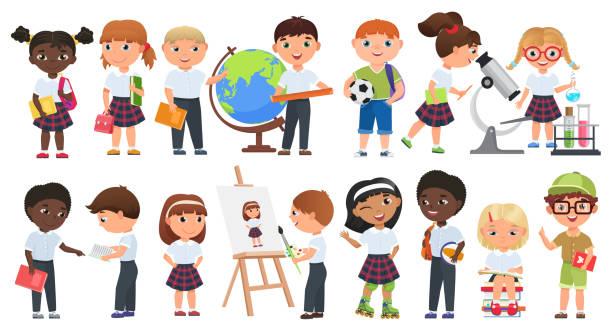 Set niños lindos dibujos animados. Niños y niñas escolares con libros y escuela fuentes de colección. - ilustración de arte vectorial
