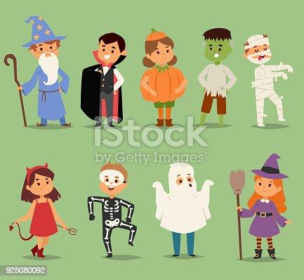 istock Cartoon cute kids wearing Halloween costumes vector characters. Little child people Halloween dracula, witch, ghost, zombie kids costume. Childhood fun cartoon boys and girls costume 925080092