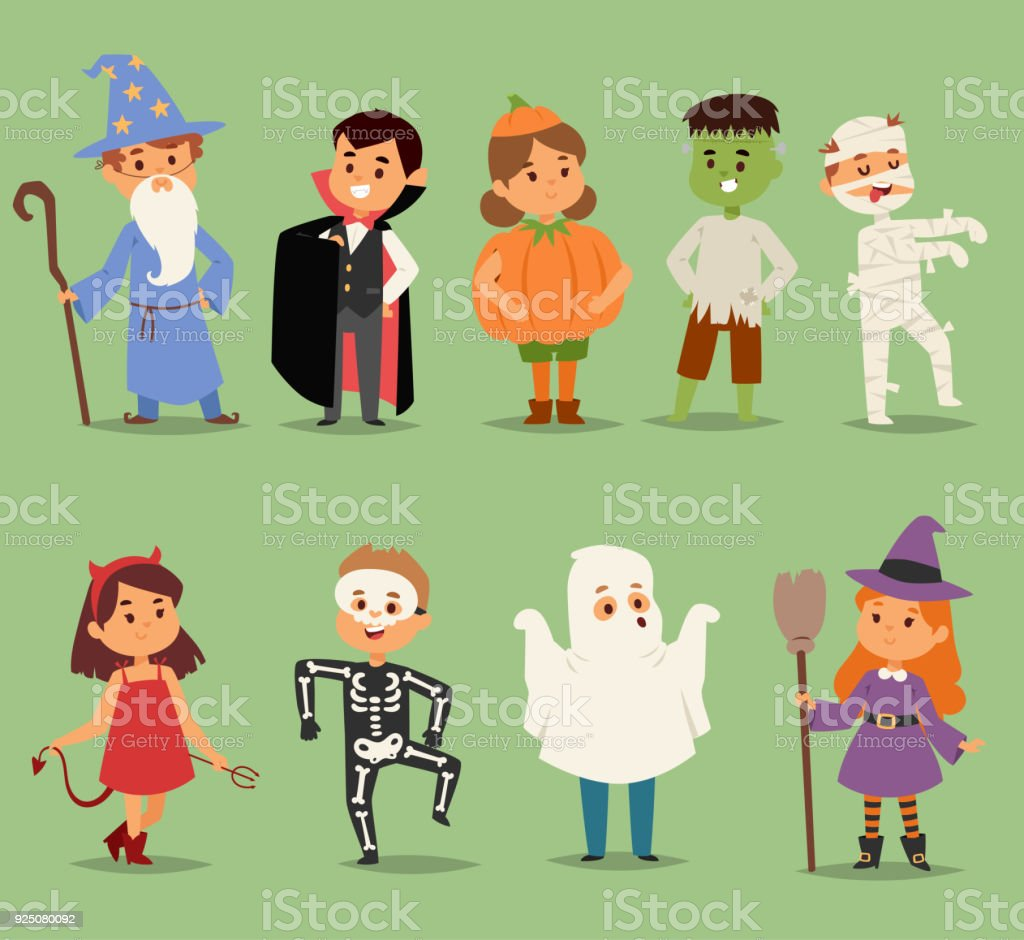 Cartoon cute kids wearing Halloween costumes vector characters. Little child people Halloween dracula, witch, ghost, zombie kids costume. Childhood fun cartoon boys and girls costume vector art illustration