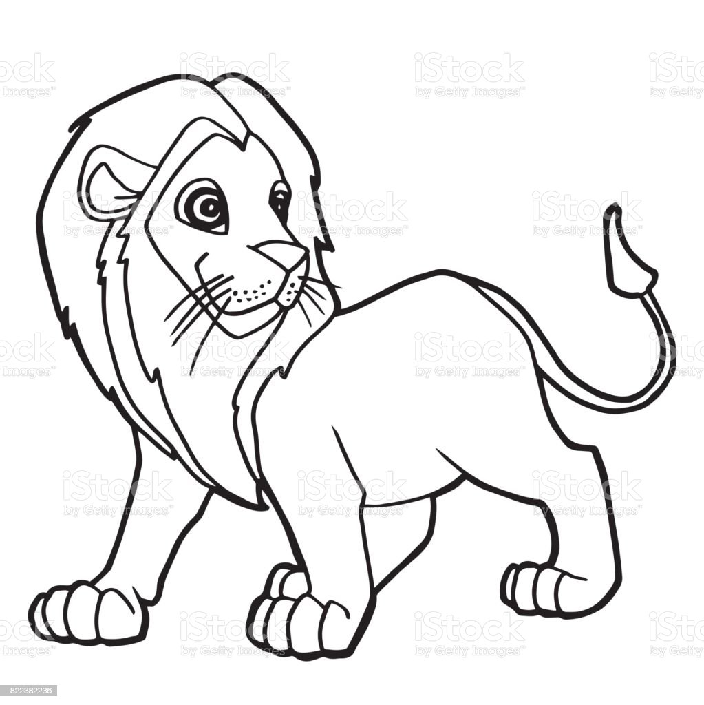 Cartoon Cute Lion Coloring Page Vector Illustration Stock Vector Art