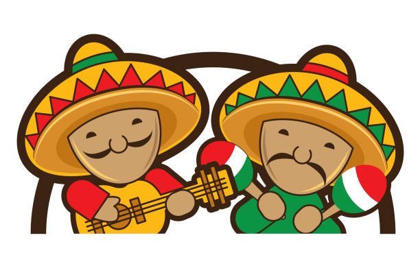 Cartoon cute Mexicans playing guitar and maracas, vector illustration Cartoon cute Mexicans playing guitar and maracas, vector illustration mexican restaurant stock illustrations