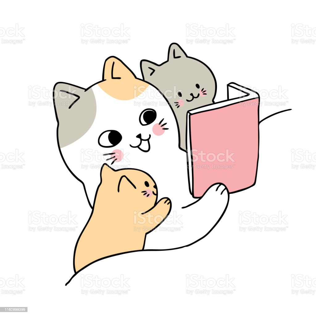 Cartoon Cute Mom And Baby Cat Reading Book Vector Stock Illustration Download Image Now Istock
