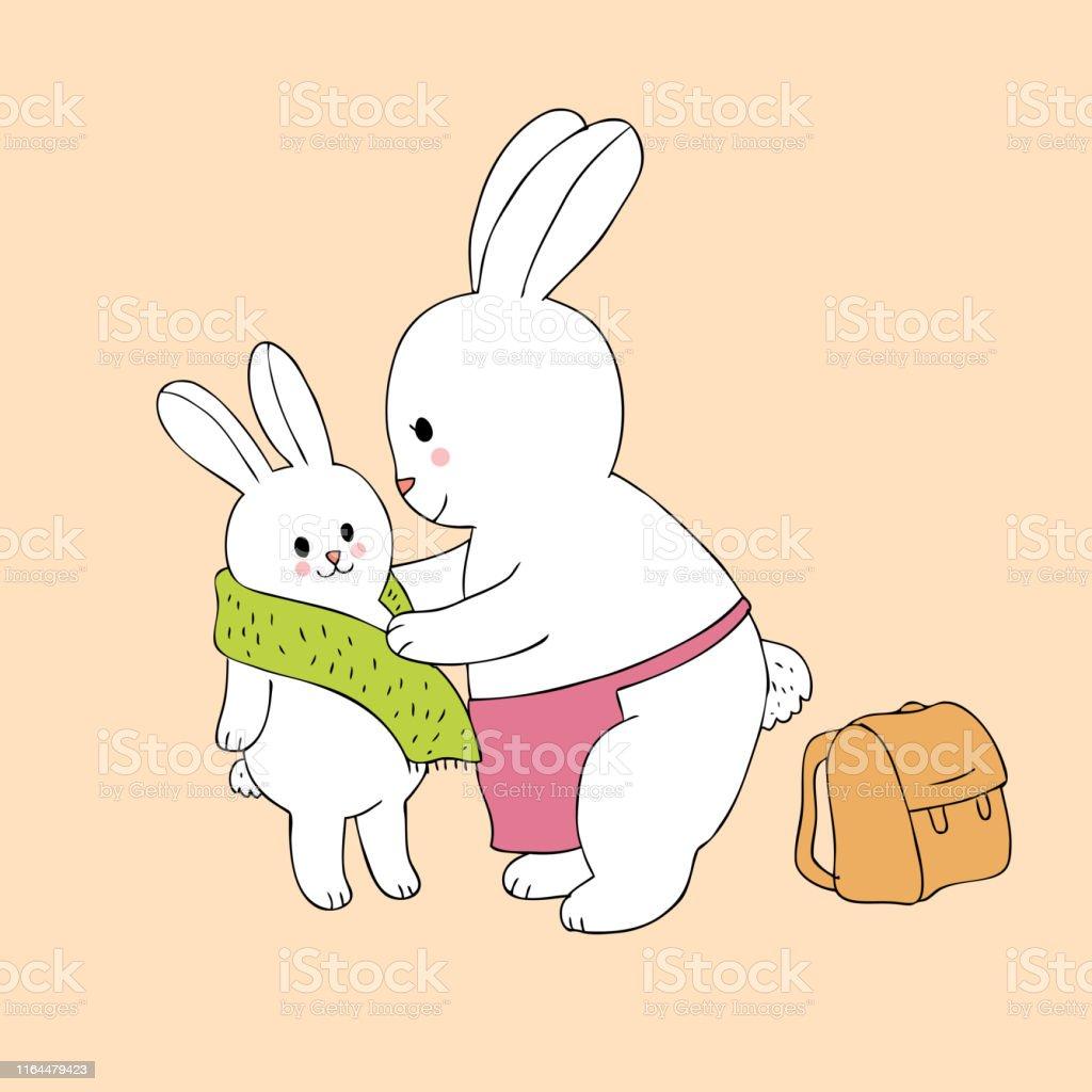 Cartoon cute mom and baby rabbits wearing go to school vector.