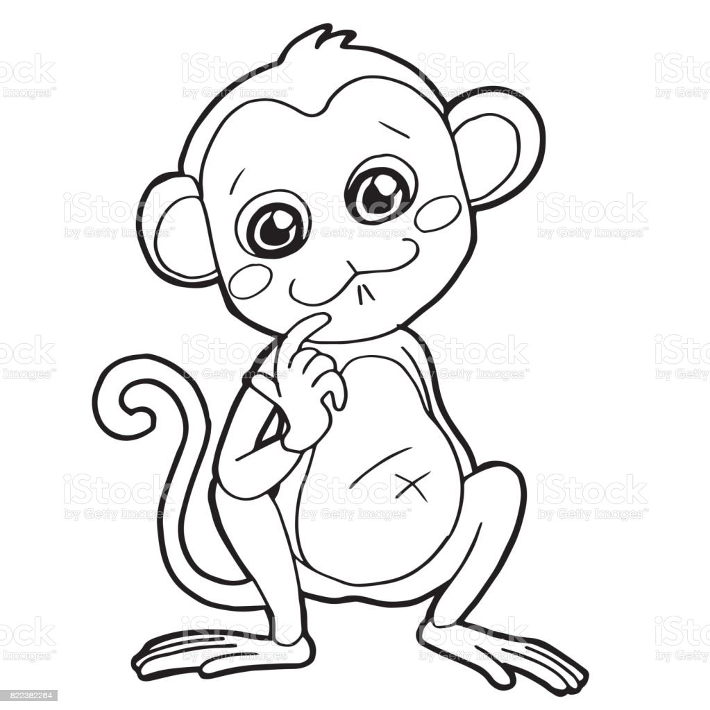 Cartoon Cute Monkey Coloring Page Vector Illustration Stock ...