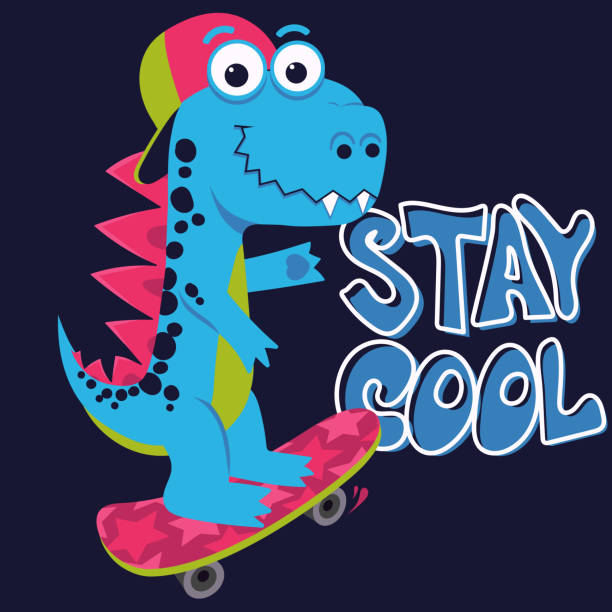 Cartoon cute monster Dinosaur, Freestyle Skate, funny dragon, little Dino drawing. Vector vector art illustration