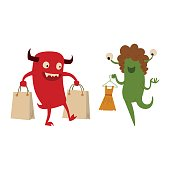 Cartoon cute monster shopping vector character illustration