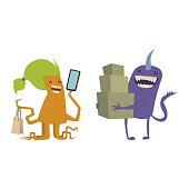 Cartoon cute monster shopping vector character illustration
