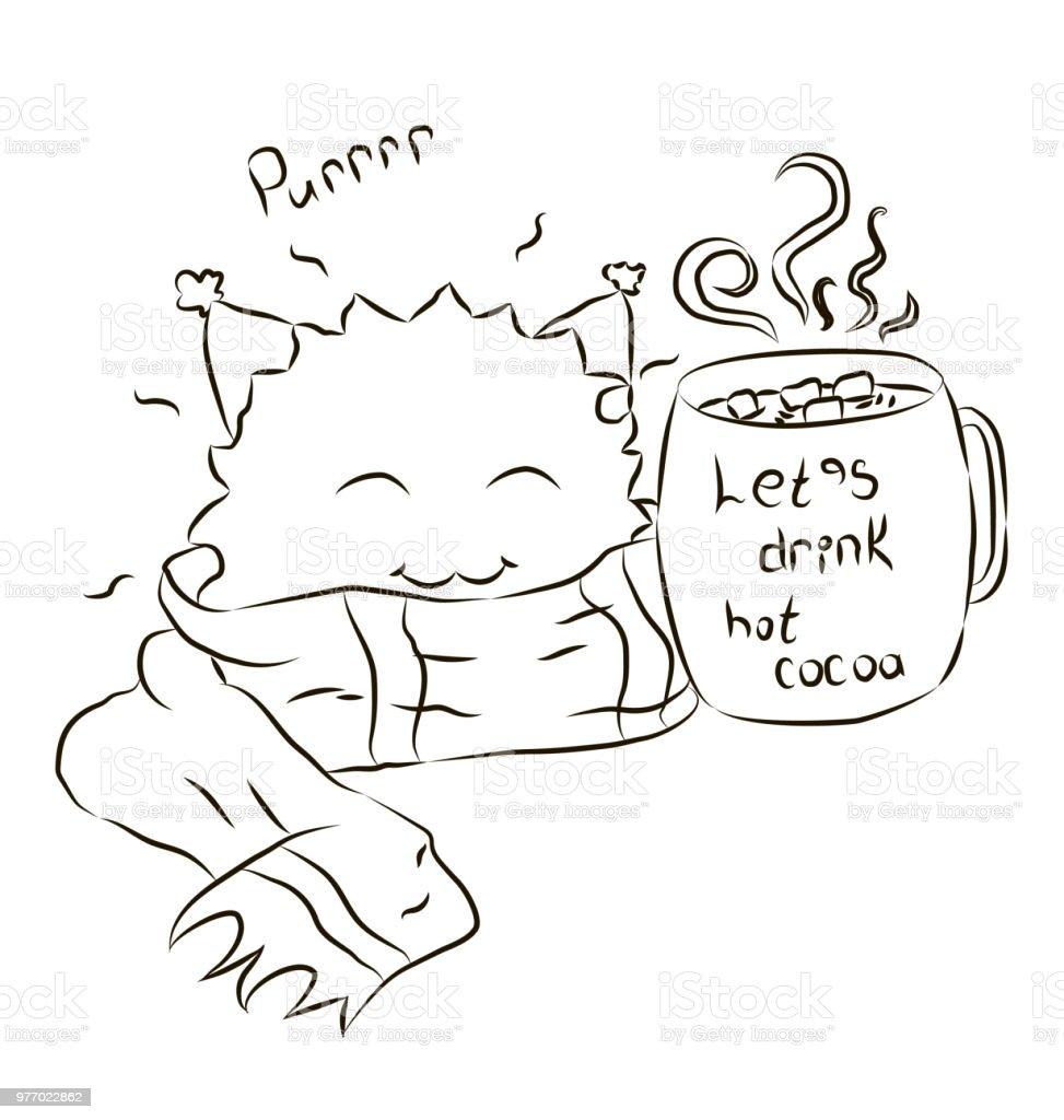 ilustração de desenhos animados monstro bonito lenço bebendo