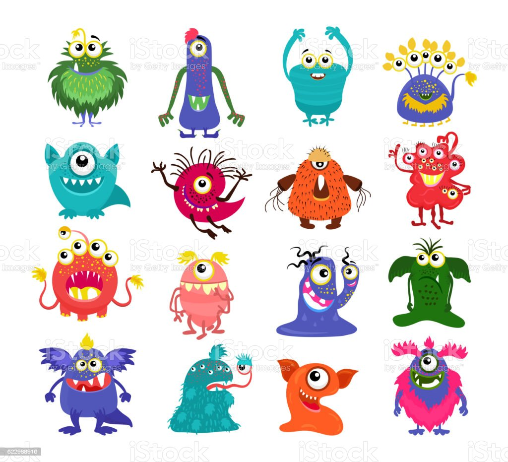 Cartoon cute monsters set vector art illustration