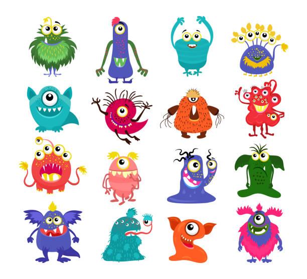ilustraciones, imágenes clip art, dibujos animados e iconos de stock de conjunto de dibujos animados lindo monstruos - monstruo