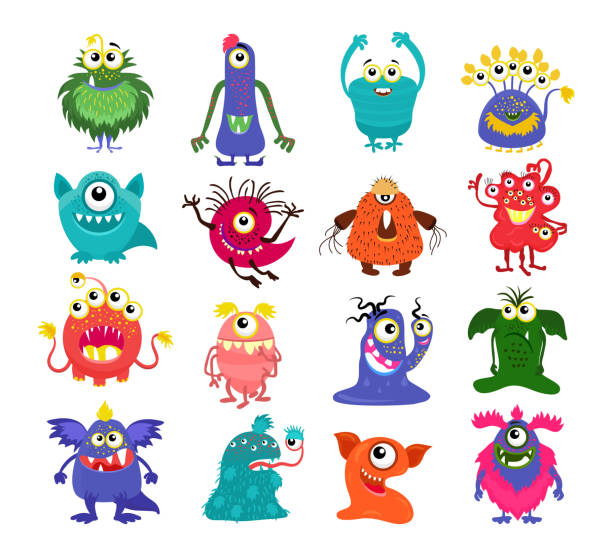 Cartoon cute monsters set vector art illustration