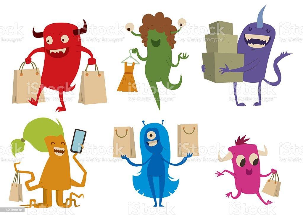 Cartoon cute monsters shopping vector