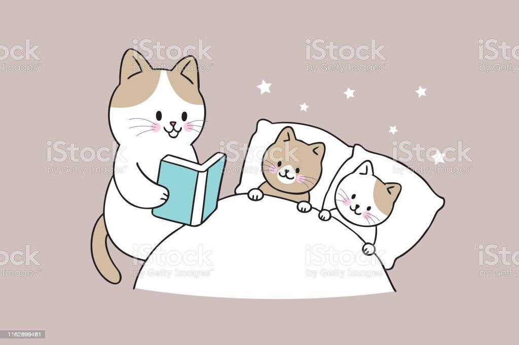 Cartoon cute mother cat reading book baby cat vector.