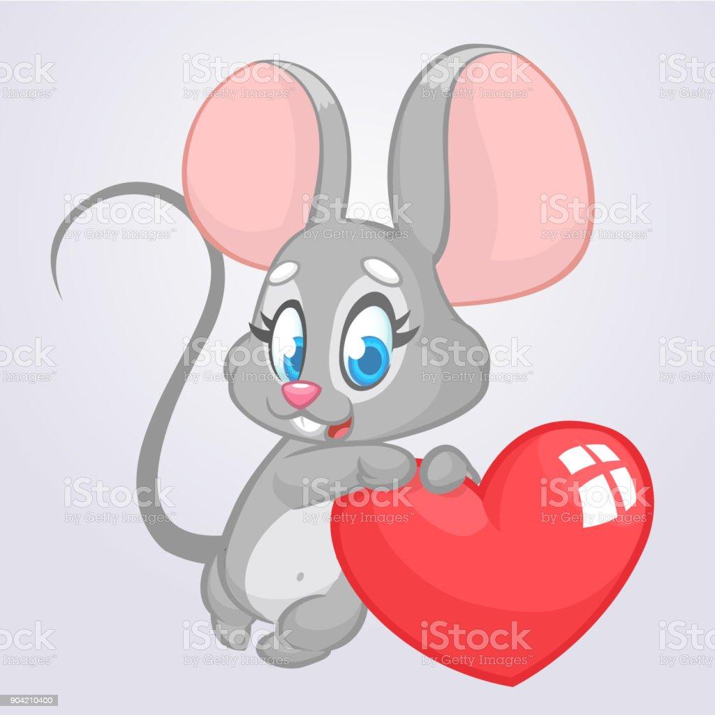 Cartoon Süße Maus Hält Ein Herz Der Liebe Vektorillustration Für St