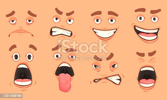 Men cute mouth eyes facial expressions gestures of surprise fear disgust sadness pleasure cartoon set vector illustration
