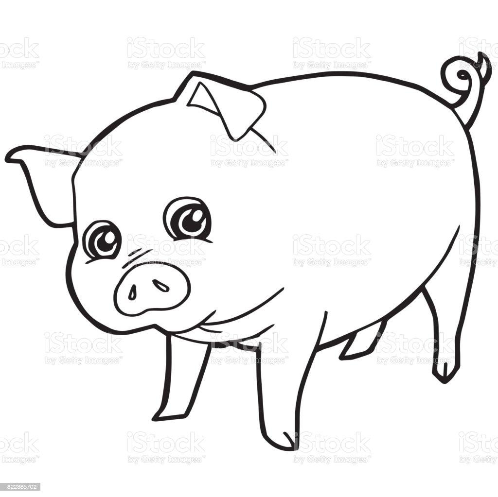 Cerdo Lindo De Dibujos Animados Para Colorear Ilustración De Vector ...