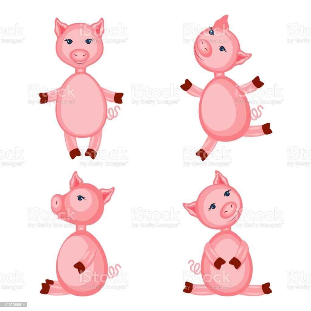 Vetores De Porcos Corderosa Bonitos Dos Desenhos Animados Isolados