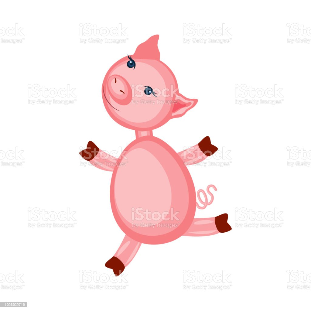 Cartoon Cute Pink Pigs Running Isolated On White Colorful Vector Illustration Farmer Domestic Animals