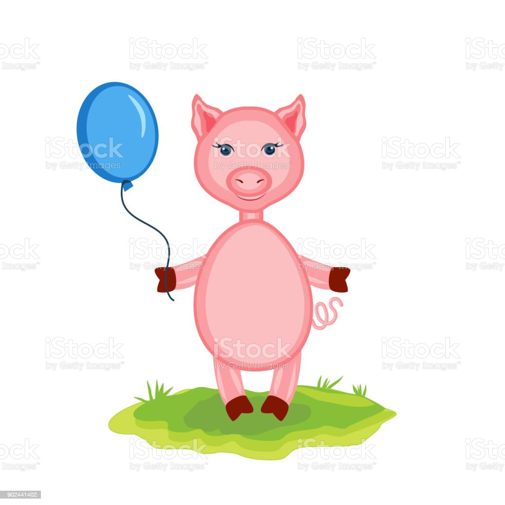 Cartoon cute pink pigs with balloon on green grass isolated on cartoon cute pink pigs with balloon on green grass isolated on white background vector illustration kristyandbryce Gallery