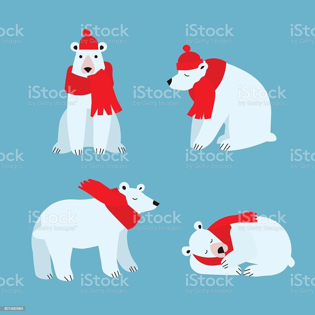 Cartoon Cute Polar Bear Animal. Vector vector art illustration