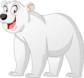 Cartoon cute Polar Bear. Vector illustration of funny happy animal.
