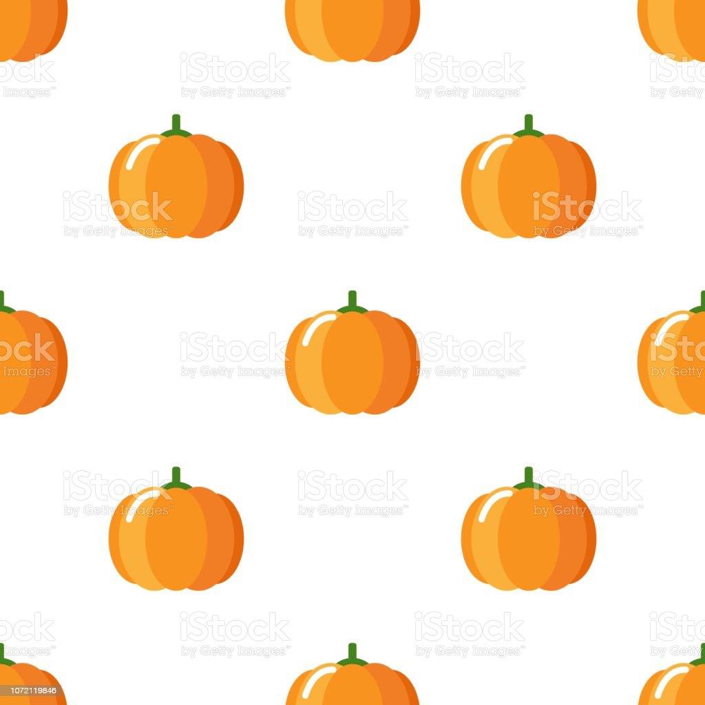 Cartoon Cute Pumpkin On White Background Seamless Pattern