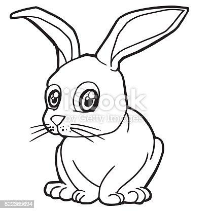 çizgi Film Sevimli Tavşan Boyama Sayfası Vektör çizim Stok Vektör