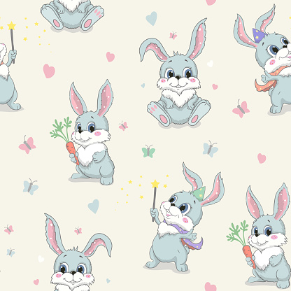 Cartoon cute Rabbit Seamless Vector Pattern. Gray rabbit with red carrot Children's fashionable prints