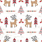 Cartoon Cute Reindeer and Winter Forest Abstract Background. Vector Seamless Christmas Pattern with Doodle Deers and Christmas Trees. New Year Holiday Wallpaper, Wrapping Paper