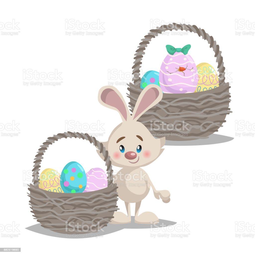 Ilustración de Dibujos Animados Lindo Sonriente Conejito De Pascua ...