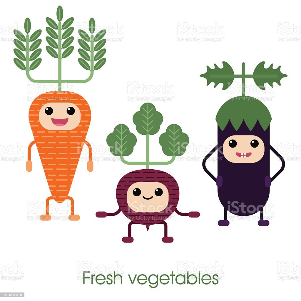 Cartoon Cute smiling vegetables - carrots, eggplant and beets. vector art illustration