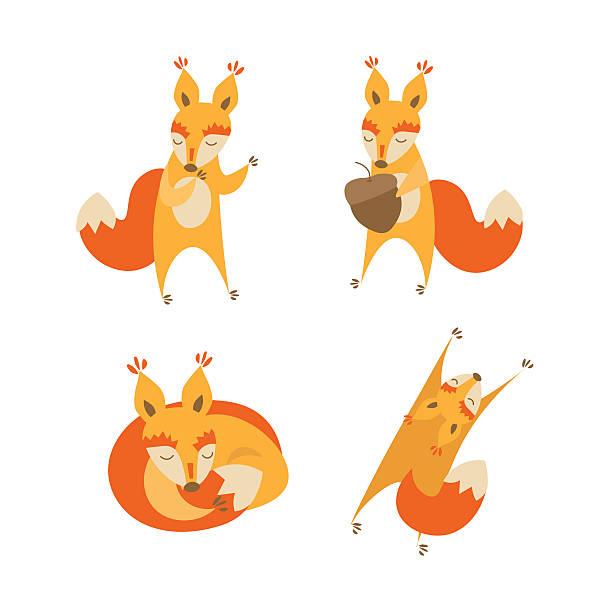 stockillustraties, clipart, cartoons en iconen met cartoon cute squirrel animal set. vector - mini amusementpark