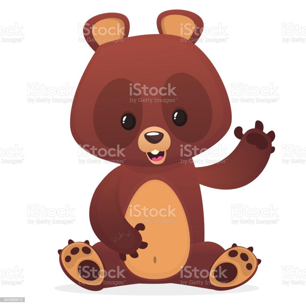 Cartoon cute teddy bear with eyes buttons waving hand. Vector illustration vector art illustration