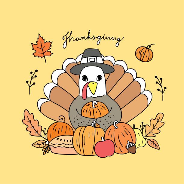 cartoon cute thanksgiving turkey and harvest vector. - pumpkin pie stock illustrations