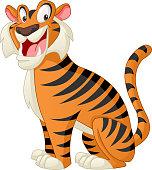 istock Cartoon cute tiger. Vector illustration of funny happy animal. 1084217224